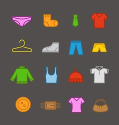 Different color clothes silhouettes collection vector image