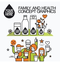 Family healthy infographic with character cow vector