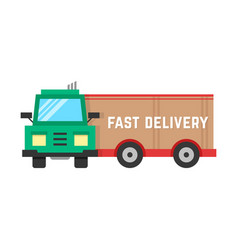 Fast delivery through big truck vector