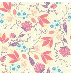 Fresh field flowers and leaves seamless pattern vector image vector image