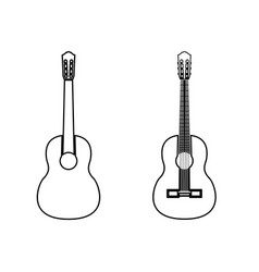 guitar black color path icon vector image