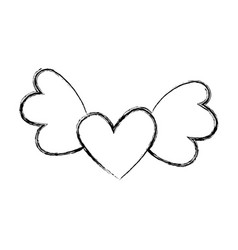 heart love with wings vector image
