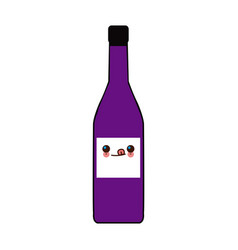 Kawaii bottle wine drink image vector