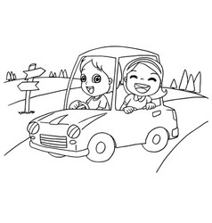 little boy and friend driving a toy car vector image vector image