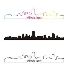 Milwaukee skyline linear style with rainbow vector
