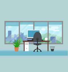 Office room with big window and landscape vector