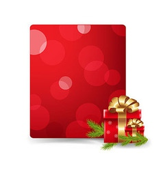 Red blank gift tag and gift box vector