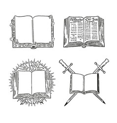 retro book set engraving old style vector image vector image