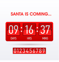 santa is coming christmas countdown timer vector image vector image