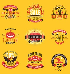 Set of Happy Halloween Badges Stickers Labels vector image