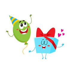 Smiling birthday party characters - floating vector