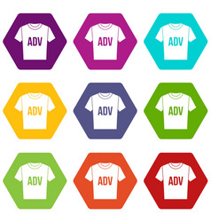 t-shirt with print adv icon set color hexahedron vector image