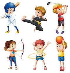 Teenagers engaging in different activities vector image