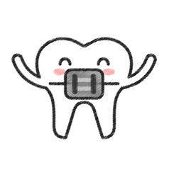 Tooth with orthodontic bracket character icon vector