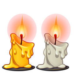 two burning wax candles white and yellow color vector image