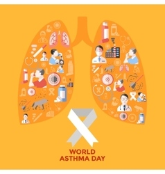 World asthma day icons set vector