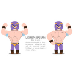 Wrestlers two athletes in purple tights and masks vector