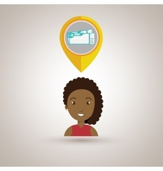 Woman pin travel location vector
