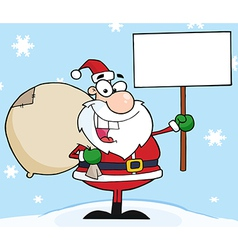 Jolly christmas santa holding a blank sign vector