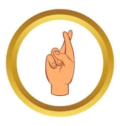 Fingers crossed icon cartoon style vector