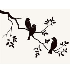 Birds on twig vector