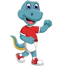 funny dinosaur cartoon jogging vector image