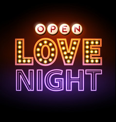 neon sign love night happy valentines day vector image
