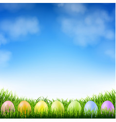Blue sky and easter eggs vector
