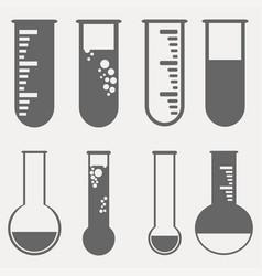 Chemical test tubes pictogram icons set vector