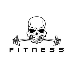 Skull holding barbell in the teeth vector