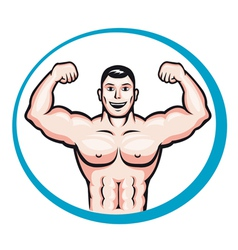 Happy smiling bodybuilder vector