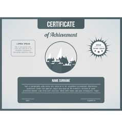 Certificate template for achievement gray vector