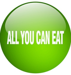 All you can eat green round gel isolated push vector