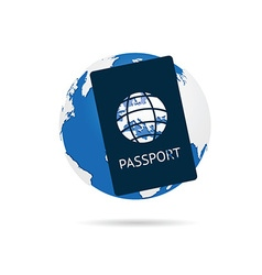 Passport with planet earth color on white vector