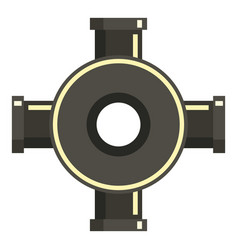 black pipe fitting icon flat style vector image vector image