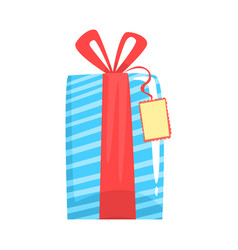 Blue gift box with red ribbon cartoon vector