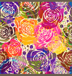 Bright floral pattern with stylized roses vector