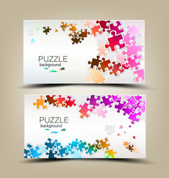 Business cards with mosaic made from puzzle pieces vector