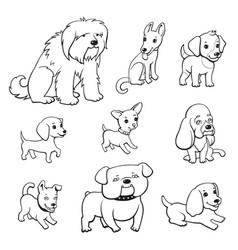 Cartoon style dogs set vector