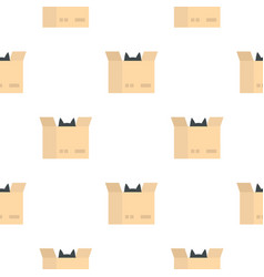 Cat in a cardboard box pattern seamless vector