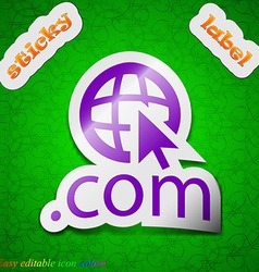 Domain com icon sign symbol chic colored sticky vector
