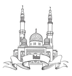 Dubai city label travel uae symbol vector