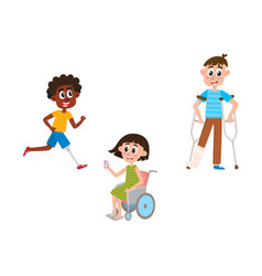 Flat disabled people set isolated vector