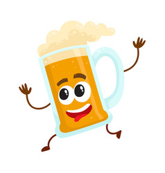 Funny beer glass mug character with human face vector