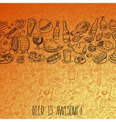 Hand drawn beer and food seamless background vector