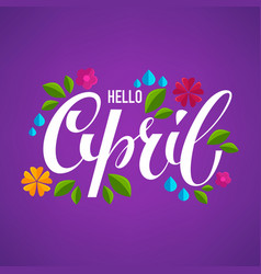 Hello april banner design template with images vector