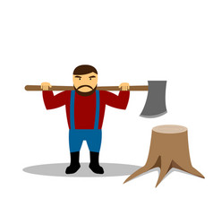 huge lumberjack and stump in flat style vector image vector image