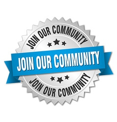Join our community 3d silver badge with blue vector