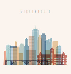 minneapolis state minnesota skyline detailed silho vector image vector image