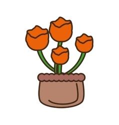 orange flower on basket icon vector image
